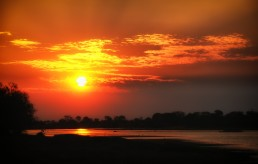 The legendary African sunset in South Luangwa National Park in Zambia.