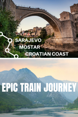 #Mostar #Sarajevo #train #Bosnia Listed among the most epic train journeys in the world, the leg between Sarajevo and Mostar is filled with craggy peaks, turquoise rivers, dark tunnels and ancient viaducts.