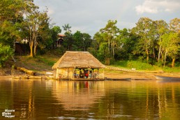 A small local settlement by an Amazon tributary near Puerto Narino, Colombia
