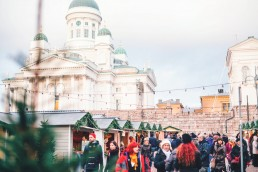 White cathedral overlooking Helsinki Christmas Market
