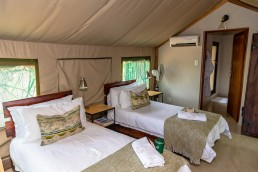 Inside a luxurious safari tent in Sausage Tree Safari Camp in Greater Kruger National Park